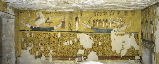Stock Photo: 1788-10572 Egypt, Thebes, Luxor, Valley of the Kings, West Valley, Tomb of Ay, Burial chamber, Western wall, Mural paintings, Illustrated Amduat