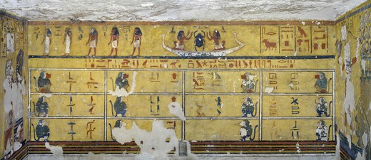 Stock Photo: 1788-10573 Egypt, Thebes, Luxor, Valley of the Kings, West Valley, Tomb of Ay, Burial chamber, Northern wall, Mural paintings, Illustrated Amduat,