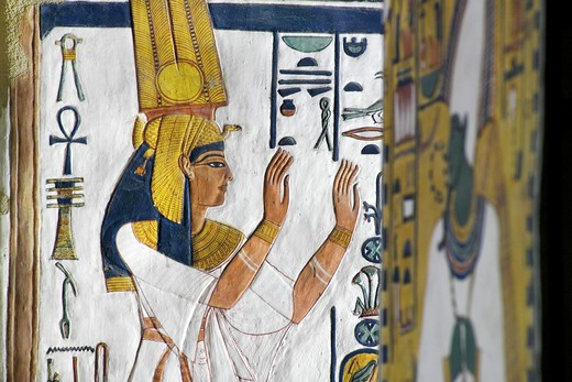 Stock Photo: 1788-10576 Egypt, Thebes, Luxor, Valley of the Queens, Tomb of Nefertari, Burial chamber, Mural paintings, Queen recites mortuary formula