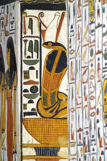 Egypt, Thebes, Luxor, Valley of the Queens, Tomb of Nefertari, Burial chamber, Mural paintings, Uraeus serpent : Stock Photo