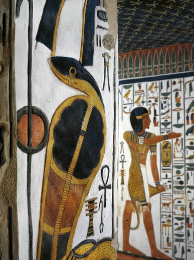 Stock Photo: 1788-10578 Egypt, Thebes, Luxor, Valley of the Queens, Tomb of Nefertari, Burial chamber, Mural paintings, Uraeus serpent and 'iun-mutef' Horus in the background