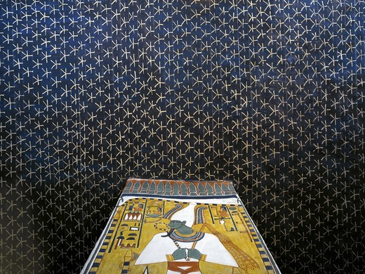 Egypt, Thebes, Luxor, Valley of the Queens, Tomb of Nefertari, Burial chamber, Mural paintings, Starry sky vault and Osiris pillar, Red belt symbolizes assimilation of Osiris and Nefertari, View from below : Stock Photo