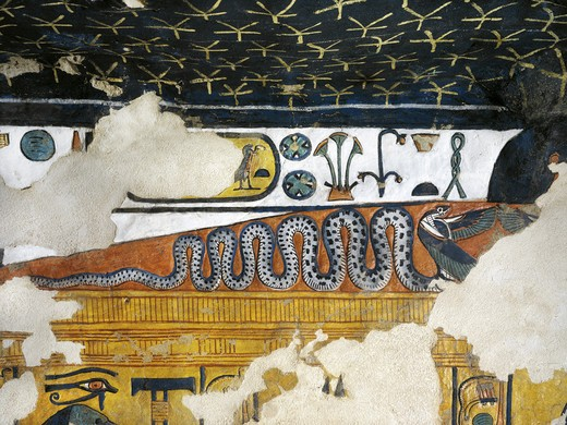 Egypt, Thebes, Luxor, Valley of the Queens, Tomb of Nefertari, Annex to burial chamber, Mural paintings, Uraeus serpent with wings spread : Stock Photo