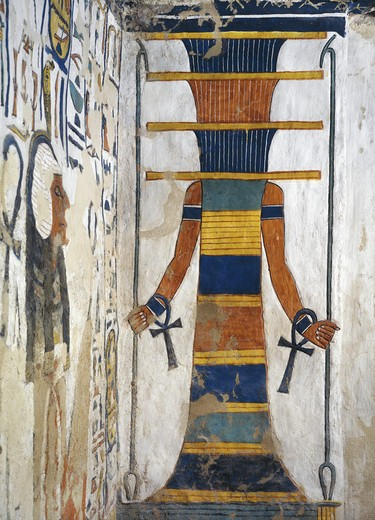 Stock Photo: 1788-10585 Egypt, Thebes, Luxor, Valley of the Queens, Tomb of Nefertari, Annex to burial chamber, Mural paintings, 'Djed' pillar represents Osiris' backbone bearing resurrection bone marrow within, Has arms and hands holding ankh