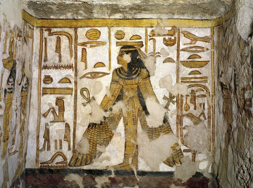 Egypt, Thebes, Luxor, Valley of the Queens, Tomb of Nefertari, Burial chamber, Niche, Mural paintings, Goddess Ma'at : Stock Photo