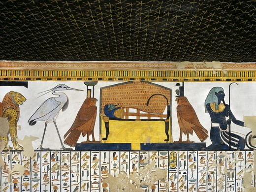 Stock Photo: 1788-10588 Egypt, Thebes, Luxor, Valley of the Queens, Tomb of Nefertari, Antechamber to burial chamber, Mural paintings, Illustrated Book of the Dead, Chapter 17