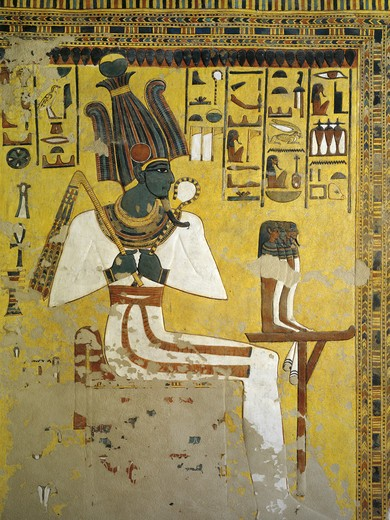 Egypt, Thebes, Luxor, Valley of the Queens, Tomb of Nefertari, Antechamber to burial chamber, Mural paintings, Osiris, Red belt symbolizes assimilation of Osiris and Nefertari : Stock Photo