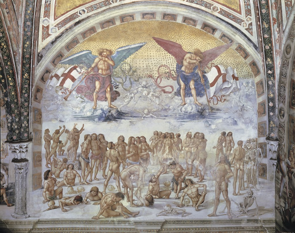 Stock Photo: 1788-1059 Close-up of a fresco in a cathedral, Resurrection Of The Flesh, Luca Signorelli by L. Signorelli, Orvieto, Umbria Region, Italy