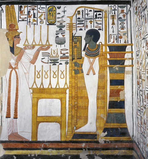 Stock Photo: 1788-10590 Egypt, Thebes, Luxor, Valley of the Queens, Tomb of Nefertari, Annex to antechamber, Mural paintings, Queen before god Ptah and Osiris form 'djed' pillar