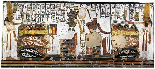 Stock Photo: 1788-10593 Egypt, Thebes, Luxor, Valley of the Queens, Tomb of Nefertari, Annex to antechamber, Mural paintings, Queen offering before Osiris and Atum