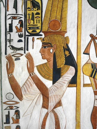 Stock Photo: 1788-10595 Egypt, Thebes, Luxor, Valley of the Queens, Tomb of Nefertari, Annex to antechamber, Mural paintings, Queen