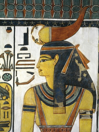 Egypt, Thebes, Luxor, Valley of the Queens, Tomb of Nefertari, Vestibule, Mural paintings, Goddess Selket : Stock Photo