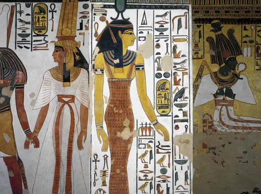 Egypt, Thebes, Luxor, Valley of the Queens, Tomb of Nefertari, Vestibule, Mural paintings, Harsiesi leads Queen by the hand, goddess Neith : Stock Photo