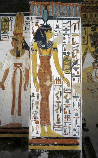 Egypt, Thebes, Luxor, Valley of the Queens, Tomb of Nefertari, Vestibule, Mural paintings, Queen, goddess Neith : Stock Photo