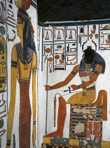 Egypt, Thebes, Luxor, Valley of the Queens, Tomb of Nefertari, Vestibule, Mural paintings, Scarab-head sun-god Khepri : Stock Photo