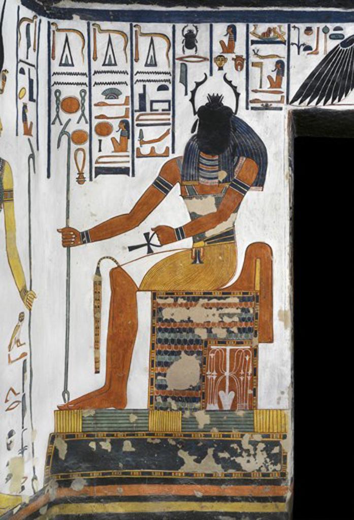 Egypt, Thebes, Luxor, Valley of the Queens, Tomb of Nefertari, Vestibule, Mural paintings, Scarab-head sun-god Khepri : Stock Photo