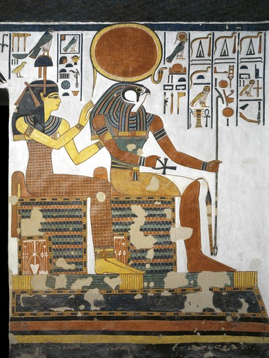 Egypt, Thebes, Luxor, Valley of the Queens, Tomb of Nefertari, Vestibule, Mural paintings, Gods Hathor-Imentet and Ra-Harakhty : Stock Photo
