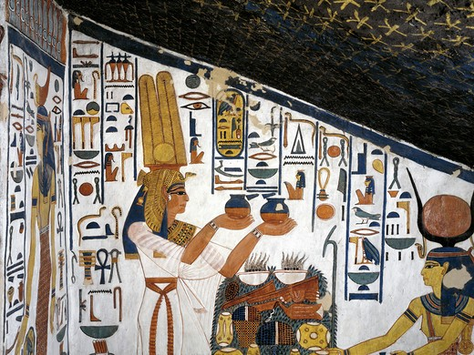 Stock Photo: 1788-10604 Egypt, Thebes, Luxor, Valley of the Queens, Tomb of Nefertari, Staircase, Mural paintings, Queen offering before Hathor