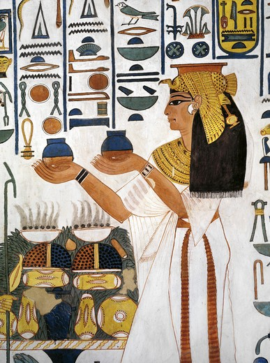 Stock Photo: 1788-10605 Egypt, Thebes, Luxor, Valley of the Queens, Tomb of Nefertari, Staircase, Mural paintings, Queen offering ritual vases