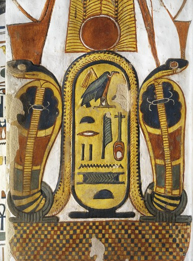 "Egypt, Thebes, Luxor, Valley of the Queens, Tomb of Nefertari, Staircase, Mural paintings, Cartouche encloses Queen given name Nefertari Mery-en-Mut, """"The Fairest of Them All, Beloved of the Goddess Mut : Stock Photo"