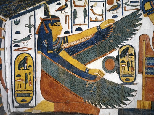 Egypt, Thebes, Luxor, Valley of the Queens, Tomb of Nefertari, Staircase, Mural paintings, Goddess Ma'at spreads wings for protection : Stock Photo