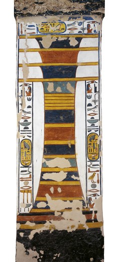 Stock Photo: 1788-10610 Egypt, Thebes, Luxor, Valley of the Queens, Tomb of Nefertari, Djed pillar representing Osiris' backbone bearing resurrection bone marrow within, from 19th dynasty