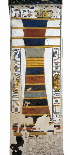Egypt, Thebes, Luxor, Valley of the Queens, Tomb of Nefertari, Djed pillar representing Osiris' backbone bearing resurrection bone marrow within, from 19th dynasty : Stock Photo