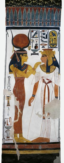 Stock Photo: 1788-10613 Egypt, Thebes, Luxor, Valley of the Queens, Tomb of Nefertari, mural painting of Hathor and queen in Burial chamber from 19th dynasty