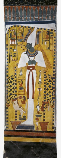 Stock Photo: 1788-10614 Egypt, Thebes, Luxor, Valley of the Queens, Tomb of Nefertari, mural painting of Osiris in Burial chamber from 19th dynasty