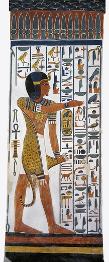 Egypt, Thebes, Luxor, Valley of the Queens, Tomb of Nefertari, mural painting of god Horus in Burial chamber from 19th dynasty : Stock Photo
