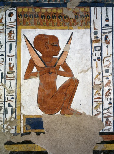 Egypt, Thebes, Luxor, Valley of the Queens, Tomb of Nefertari, mural painting of Guardian in Burial chamber from 19th dynasty : Stock Photo