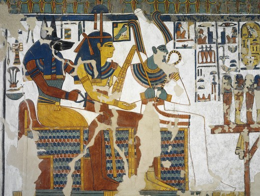 Egypt, Thebes, Luxor, Valley of the Queens, Tomb of Nefertari, mural painting of Anubis, Isis and Osiris in Burial chamber from 19th dynasty : Stock Photo