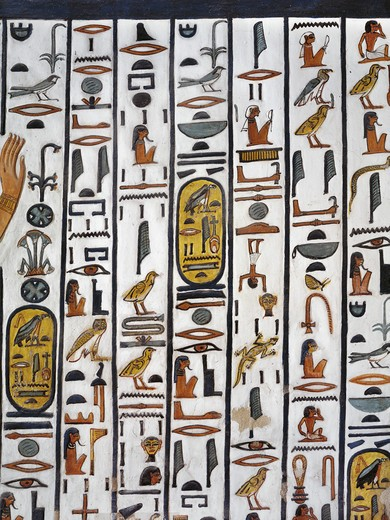Egypt, Thebes, Luxor, Valley of the Queens, Tomb of Nefertari, mural painting in Burial chamber from 19th dynasty : Stock Photo