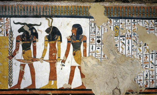 Stock Photo: 1788-10622 Egypt, Thebes, Luxor, Valley of the Queens, Tomb of Nefertari, mural painting from Illustrated Book of the Dead, Chapter 144, in Burial chamber from 19th dynasty