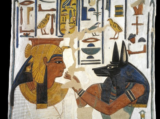 Egypt, Thebes, Luxor, Valley of the Queens, Tomb of Nefertari, mural painting of Queen before god Anubis in Burial chamber from 19th dynasty : Stock Photo