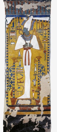 Egypt, Thebes, Luxor, Valley of the Queens, Tomb of Nefertari, mural painting of Osiris in Burial chamber from 19th dynasty : Stock Photo