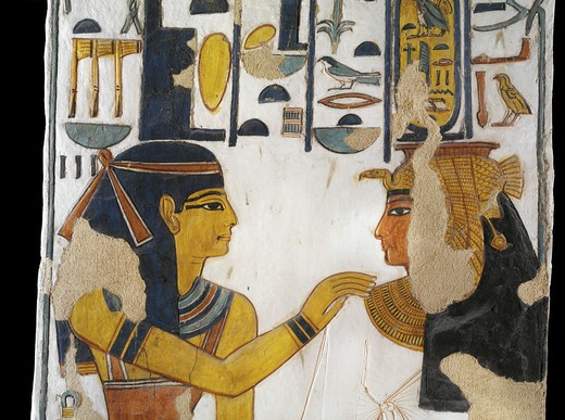 Egypt, Thebes, Luxor, Valley of the Queens, Tomb of Nefertari, mural painting of Isis and queen on pillar in Burial chamber from 19th dynasty : Stock Photo