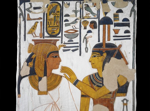 Stock Photo: 1788-10629 Egypt, Thebes, Luxor, Valley of the Queens, Tomb of Nefertari, mural painting of goddess Isis and queen on pillar in Burial chamber from 19th dynasty
