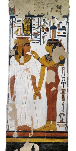 Stock Photo: 1788-10630 Egypt, Thebes, Luxor, Valley of the Queens, Tomb of Nefertari, mural painting of goddess Isis and queen on pillar in Burial chamber from 19th dynasty