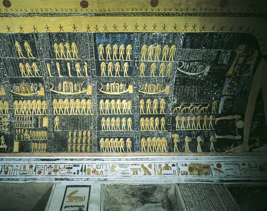 Stock Photo: 1788-10631 Egypt, Thebes, Luxor, Valley of the Kings, Tomb of Ramses VI, painted ceiling illustrating Book of the Day and Book of the Night cosmology from 20th dynasty