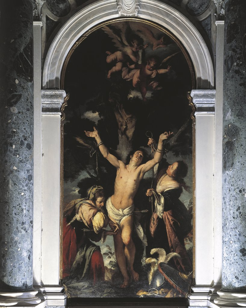 Stock Photo: 1788-1064 Italy - Veneto Region - Venice - Church of St. Benedict - St. Sebastian by Bernardo Strozzi