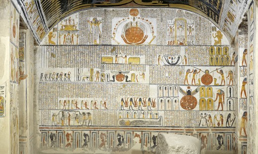 Egypt, Thebes, Luxor, Valley of the Kings, Tomb of Ramses VI, mural paintings from Illustrated Book of the Earth in Burial chamber from 20th dynasty : Stock Photo