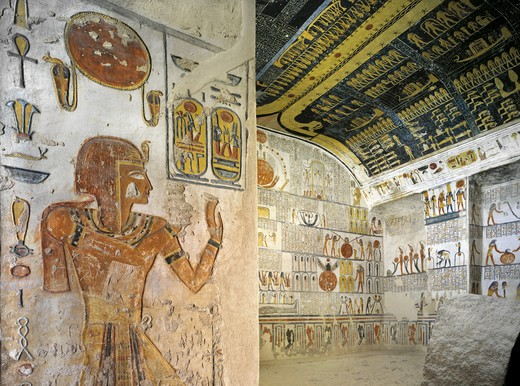 Stock Photo: 1788-10648 Egypt, Thebes, Luxor, Valley of the Kings, Tomb of Ramses VI, left wall mural paintings in Burial chamber from 20th dynasty