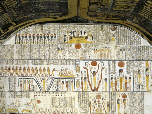 Egypt, Thebes, Luxor, Valley of the Kings, Tomb of Ramses VI, mural paintings of Ra in solar bark from Illustrated Book of the Earth in Burial chamber from 20th dynasty : Stock Photo