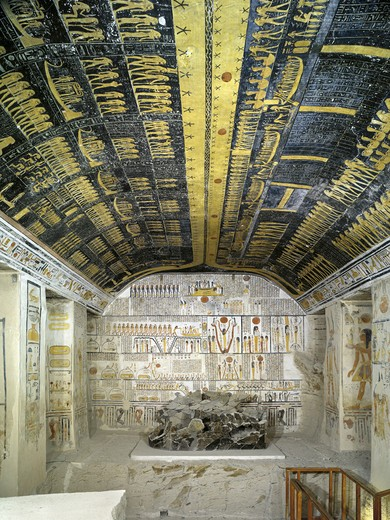 Stock Photo: 1788-10653 Egypt, Thebes, Luxor, Valley of the Kings, Tomb of Ramses VI, painted ceiling illustrating Book of the Day and Book of the Night cosmology, in Burial chamber from 20th dynasty