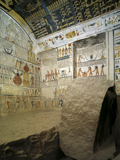 Egypt, Thebes, Luxor, Valley of the Kings, Tomb of Ramses VI, ceiling and wall paintings illustrating Book of the Day, Book of the Night and Book of the Earth, in Burial chamber from 20th dynasty : Stock Photo