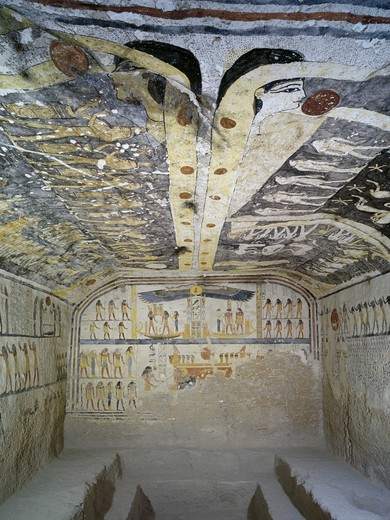 Egypt, Thebes, Luxor, Valley of the Kings, Tomb of Ramses IX, mural paintings illustrating Book of Day, Night, Caverns, Earth and Amduat, in Burial chamber from twentieth dynasty : Stock Photo