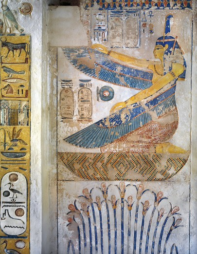 Stock Photo: 1788-10678 Egypt, Thebes, Luxor, Valley of the Kings, Tomb of Siptah, mural painting of Goddess Ma'at from nineteenth dynasty
