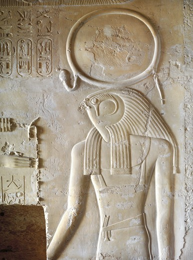 Egypt, Thebes, Luxor, Valley of the Kings, Tomb of Seti II, entrance relief of Ra from nineteenth dynasty : Stock Photo