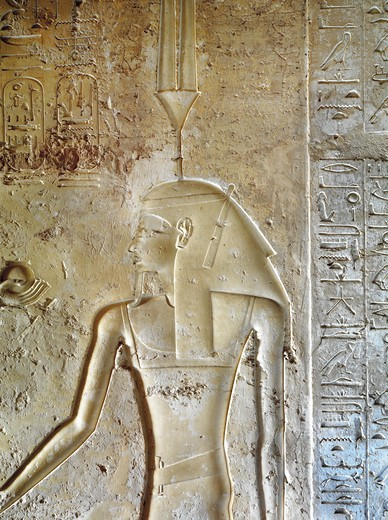 Stock Photo: 1788-10684 Egypt, Thebes, Luxor, Valley of the Kings, Tomb of Seti II, entrance relief of Ra from nineteenth dynasty